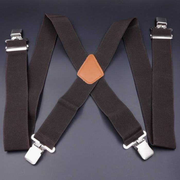 Подтяжки  мужские широкие 5см X-образные коричневые SH-02
