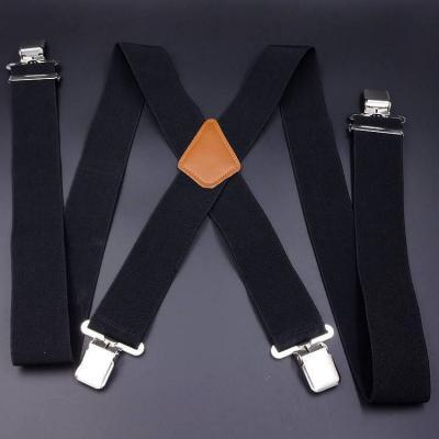 Подтяжки мужские широкие 5см X-образные черные SH-03