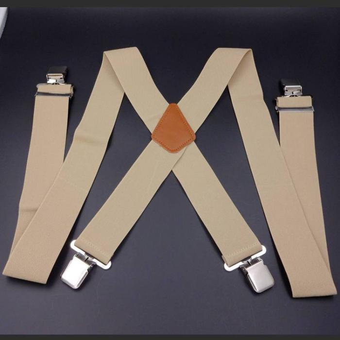 Подтяжки  широкие 5см X-образные бежевые SH-04