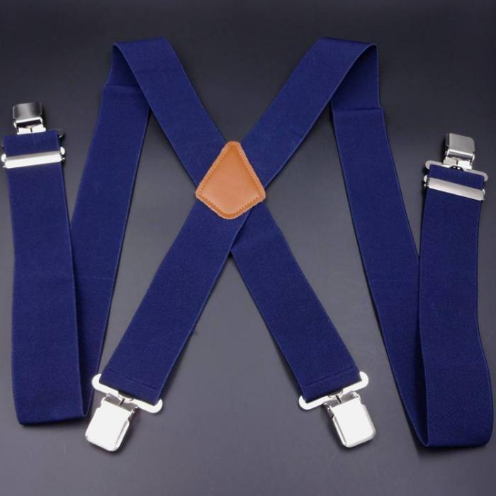 Подтяжки  широкие 5см мужские X-образные синие SH-05