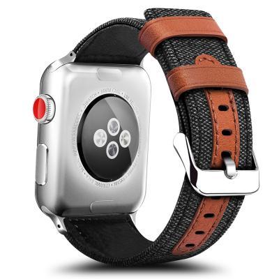 Ремешок для apple watch 42мм из кожи и нейлона черный AW11-101