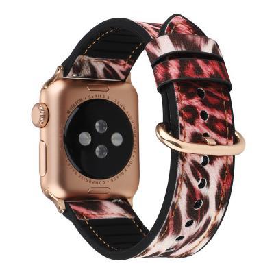 Ремешок для apple watch 38-40 мм из кожи и силикона красный леопард AW12-01