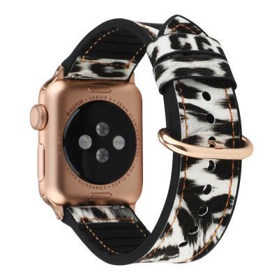 Ремешок для apple watch 38-40 мм из кожи и силикона белый леопард AW12-02