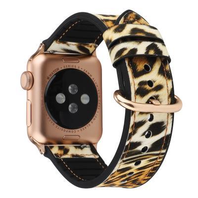 Ремешок для apple watch 38-40 мм из кожи и силикона желтый леопард AW12-03