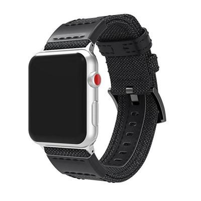 Ремешок для apple watch 42мм из кожи и нейлона черный AW13-101