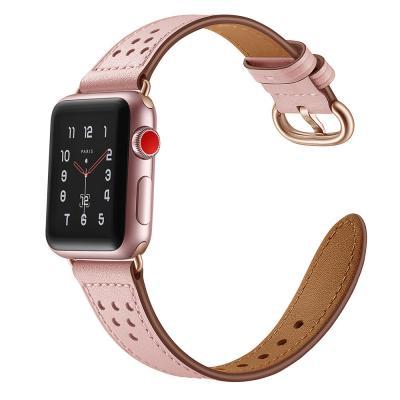 Ремешок для apple watch 38 мм кожаный розовый AW16-01
