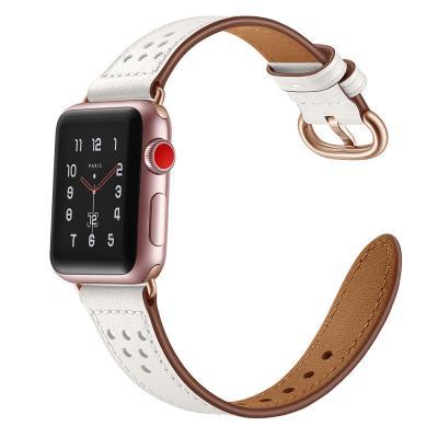 Белый кожаный ремешок для apple watch 38мм AW16-02