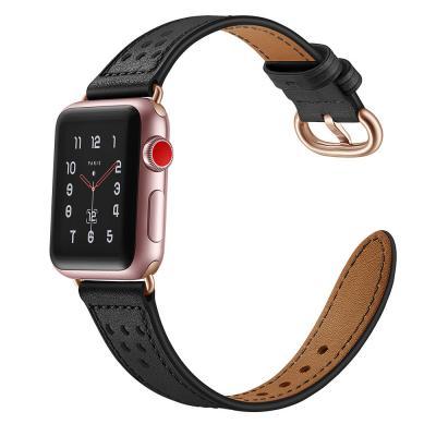 Черный ремешок для apple watch 38мм из кожи AW16-04