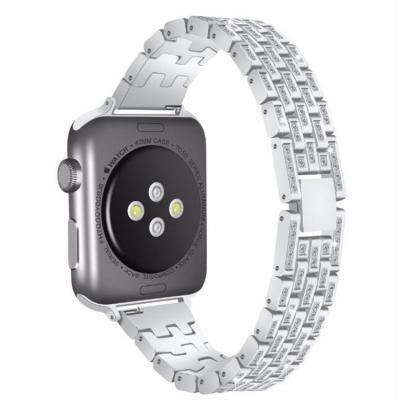 Металлический серебристый ремешок со стразами для apple watch 42-44 мм AW17-103