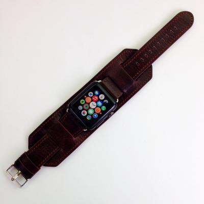 Широкий кожаный ремешок для apple watch 42 мм коричневый AW18-101