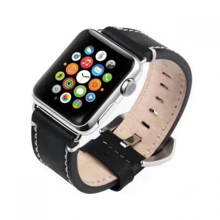 Ремешок для apple watch 42 мм кожаный черный AW19-101