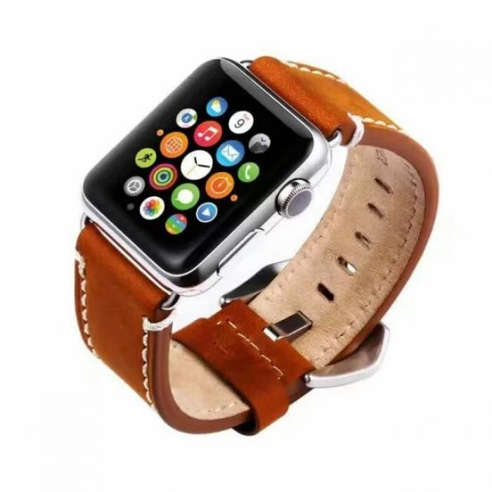 Коричневый кожаный ремешок для apple watch 42 мм AW19-102