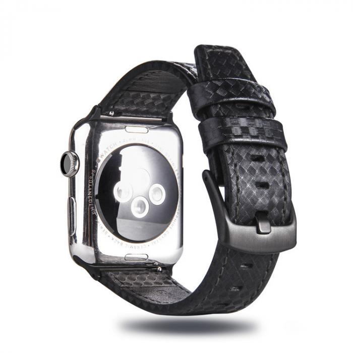 Ремешок для apple watch 42 мм кожаный черный AW21-101