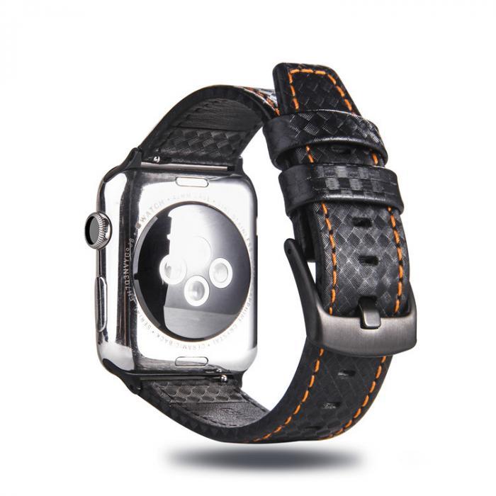 Черный кожаный ремешок для apple watch 42мм с оранжевой строчкой AW21-102