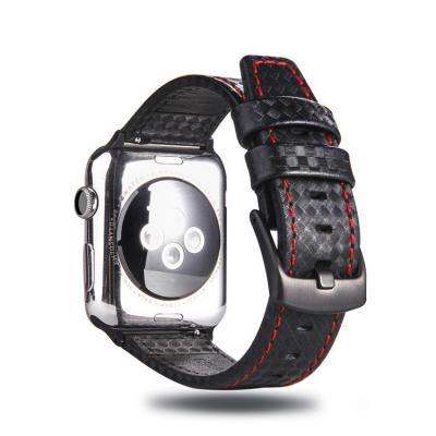 Кожаный черный ремешок для apple watch 38мм с красной строчкой AW21-03
