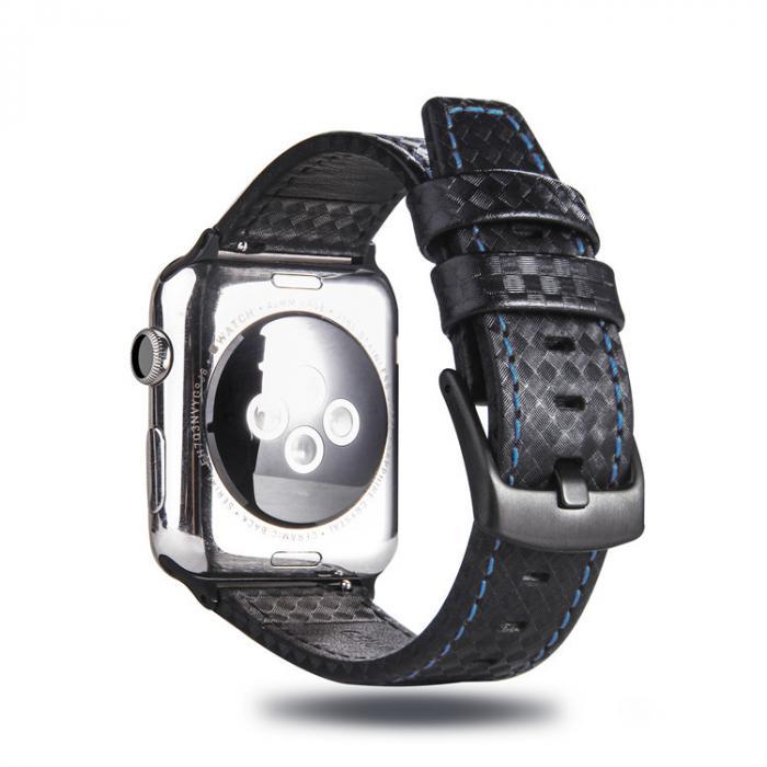 Черный ремешок для apple watch 42мм из кожи с синей строчкой AW21-104