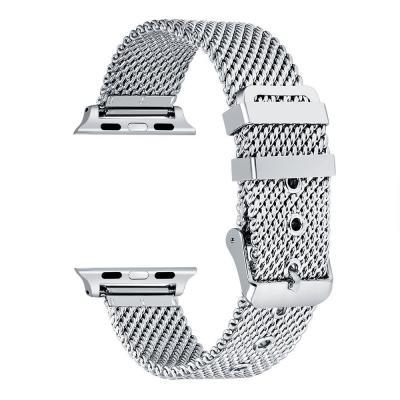 Серебристый плетеный металлический ремешок для apple watch 38 мм AW23-02
