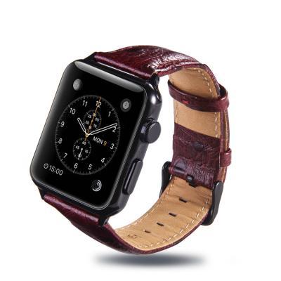 Красно-коричневый кожаный ремешок для apple watch 38мм AW24-02