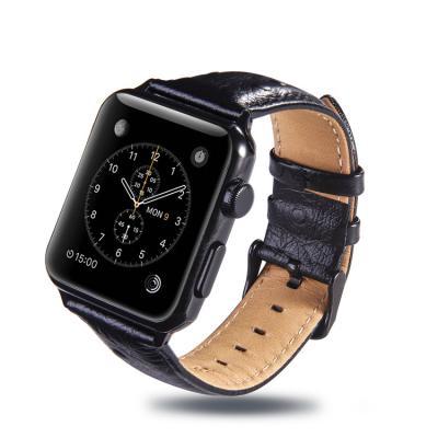 Кожаный черный ремешок для apple watch 42мм AW24-103