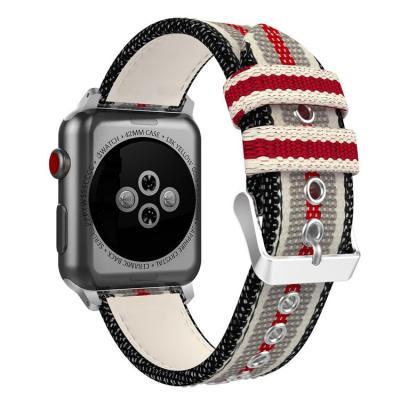 Ремешок нейлоновый для apple watch 38 мм серый с красным AW25-01