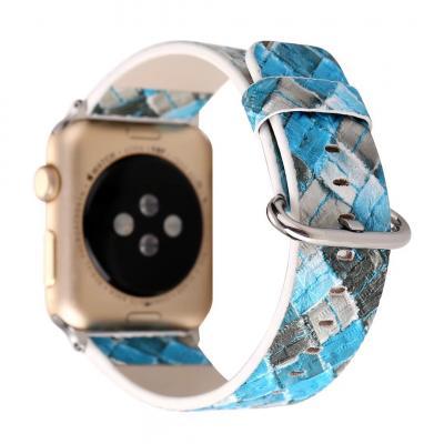 Ремешок для apple watch 42 мм кожаный голубой AW26-101