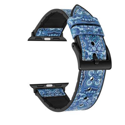 Ремешок для apple watch 42 мм кожаный синий с узором AW27-101