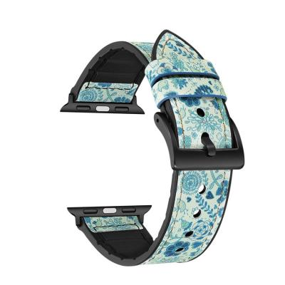 Голубой кожаный ремешок для apple watch 38мм с узором AW27-02