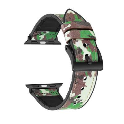 Камуфляжный зеленый ремешок для apple watch 38мм из кожи AW27-04