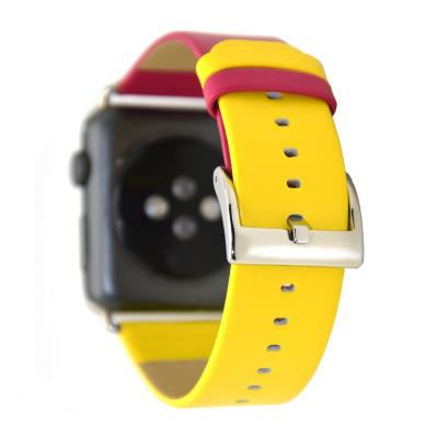 Ремешок для apple watch 42 мм кожаный красно-желтый AW28-101