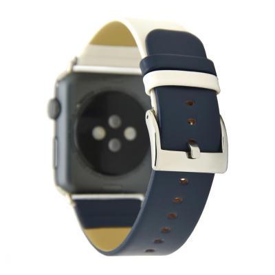 Бело-синий кожаный ремешок для apple watch 42мм AW28-102