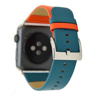 Кожаный оранжево-голубой ремешок для apple watch 38мм AW28-03