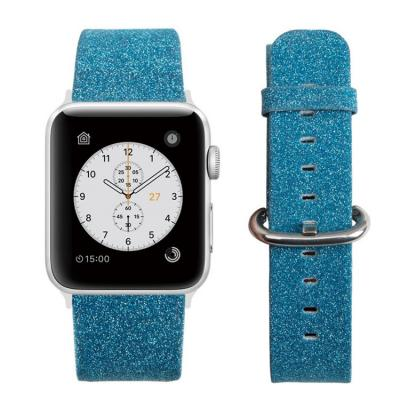 Ремешок для apple watch 42мм кожаный голубой AW29-101