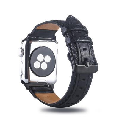 Ремешок черный для apple watch 38мм кожаный AW30-01