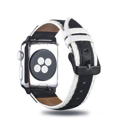 Черно-белый кожаный ремешок для apple watch 38мм AW30-02