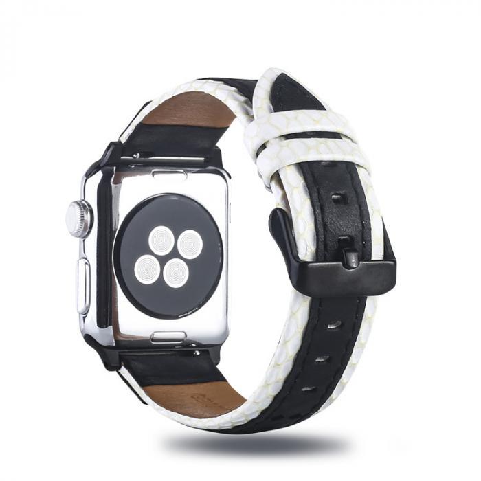 Черно-белый кожаный ремешок для apple watch 42мм AW30-102