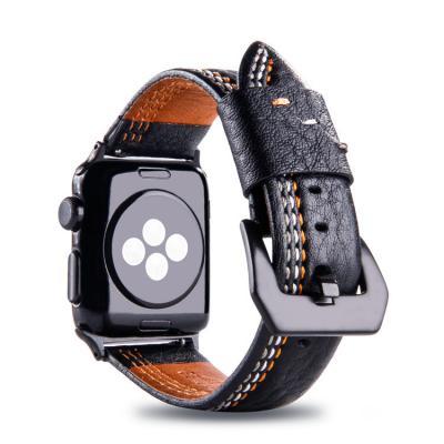 Черный кожаный ремешок для apple watch 42 мм AW31-101