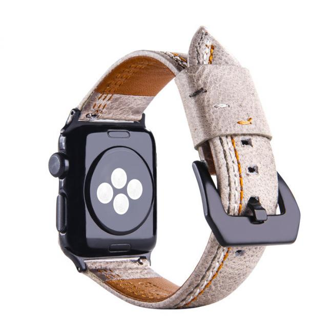 Кожаный бежевый ремешок для apple watch 42мм AW31-103