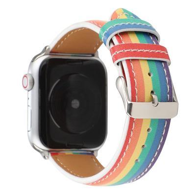 Радужный кожаный ремешок для apple watch 38 мм AW34-01