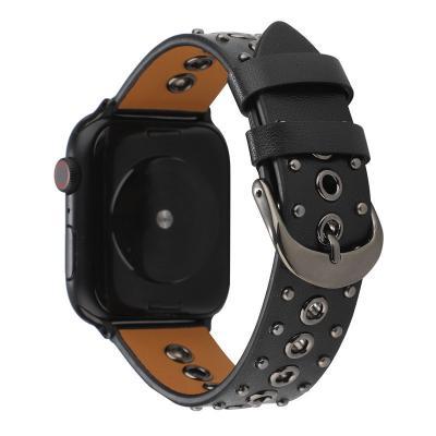 Черный кожаный ремешок для apple watch 38 мм с клепками AW35-01