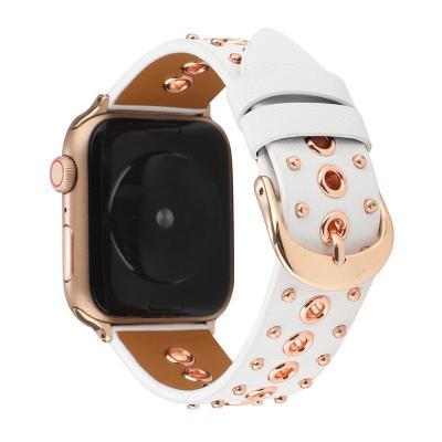Кожаный белый ретро ремешок для apple watch 42мм с клепками AW35-103