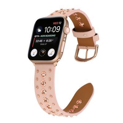 Ретро ремешок для apple watch 42мм из кожи розовый AW35-104