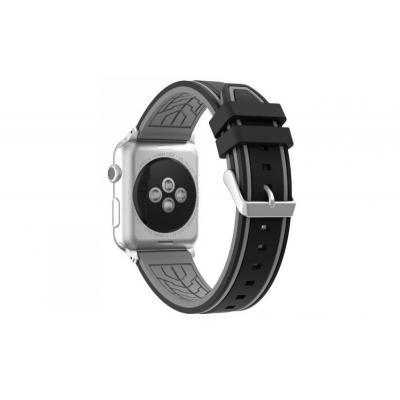 Ремешок силиконовый для apple watch 38мм черно-серый AW36-05