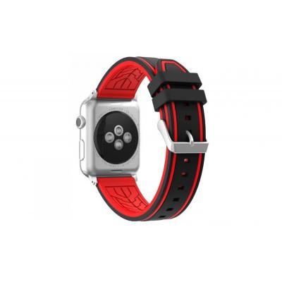 Ремешок для apple watch 42мм силиконовый красно-черный AW36-106