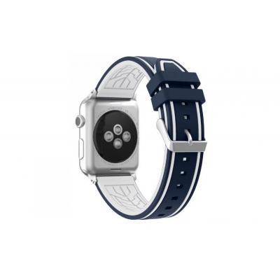 Силиконовый ремешок для apple watch 42мм бело-синий AW36-107