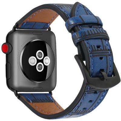 Кожаный синий ремешок для apple watch 42мм AW38-103