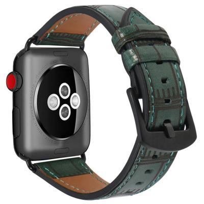 Ремешок для apple watch 42мм из кожи зеленый AW38-105