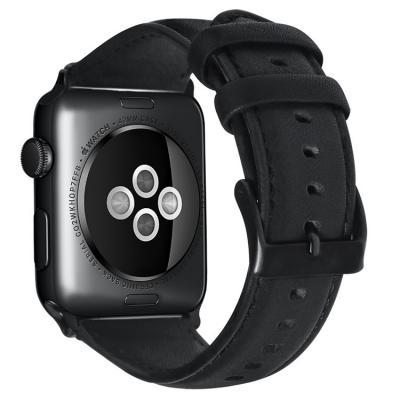 Черный кожаный ремешок для apple watch 38 мм AW39-01