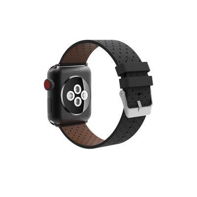 Перфорированный кожаный ремешок для apple watch 42мм черный AW4-101