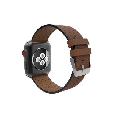 Кожаный перфорированный ремешок для apple watch 42мм коричневый AW4-102
