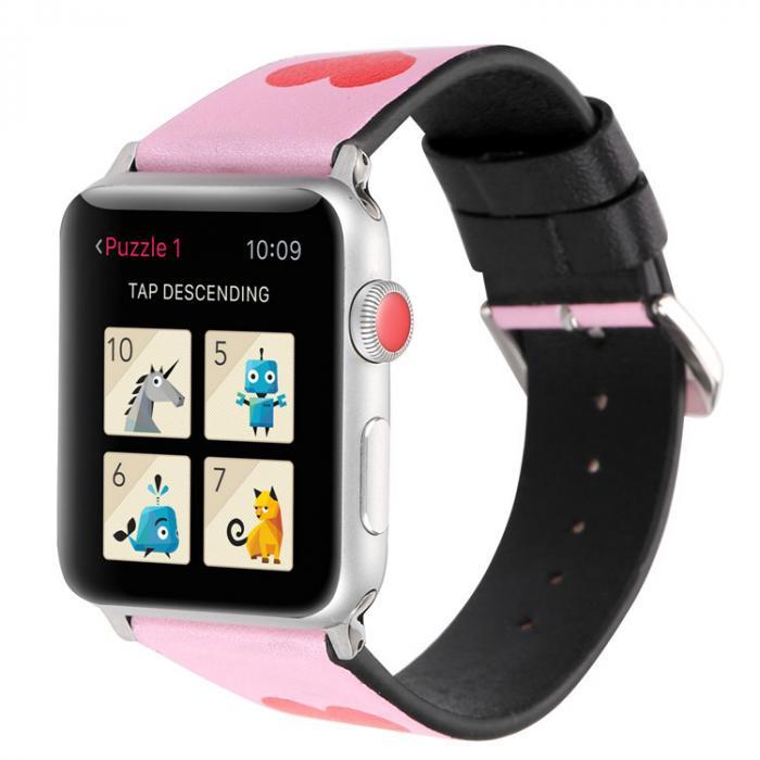 Розовый кожаный ремешок для apple watch 38 мм AW41-01
